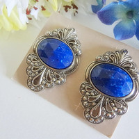 "AVON Vintage ""Faceted Traditions"" Lapis Blue Marcasite Earrings,Vintage Avon Jewelry,Avon Earrings,Antique Earrings,Antique Jewelry,Gift"