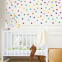 121 Mini 2 inch Rainbow Colors Polka Dot Fabric Wall Decals Repositionable, Reusable, Removable Peel and Stick
