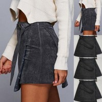 Skirt Women Skirt Cross Lace Up Cut Out Mini Skirts Casual Badycon Pencil Skirts Women