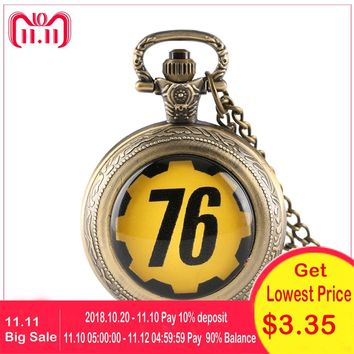 Vintage FALLOUT 4 FALLOUT 76 Theme Quartz Pocket Watch Men Clock Gifts for Children Necklace Chain Fob Watches relogio de bolso