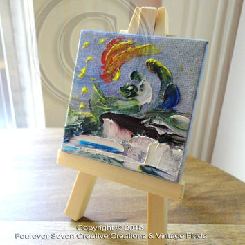 Mini Oil Painting With Easel Abstract Painting Impressionist Original Oil Painting Small Oil Painting Mini Painting Miniature Art Newborn