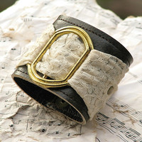 Women's Romantic Gothic Lolita Leather Wristband Cuff with Secret Pocket - Limited Edition