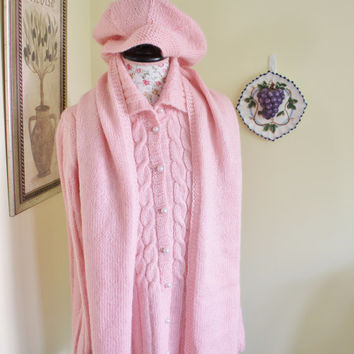 Handmade Hand knit Pink Cable Cardigan Mohair Set with Scarf and Hat // CABLE KNIT Long WOOL Cardigan, Coat - Size M-Large - Long Sleeves, L