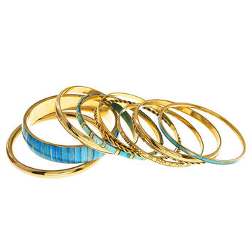 Set of 10 Varnished Gold Tone Bangles - Blue & Teal