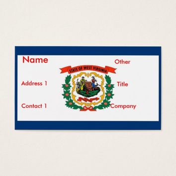 Business Card with Flag of West Virginia U.S.A.