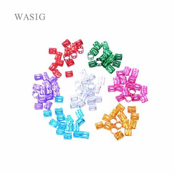 100 Pcs/Lot #Pink #Red #Blue #Golden #Silver Mixed Dreadlock Beads Adjustable Hair Braids Cuff Clip 8MM Hole Micro Ring Beads