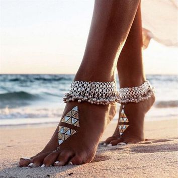 Silver Boho Bohemia Women Sandal Ankle Chain Bell Anklet Beach Accessories Beachwear Foot Bracelet Gypsy Jewelry