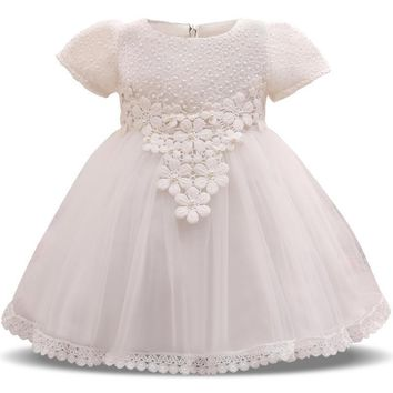 Lace Flower Girls Wedding Dress Baby Girls Christening Dresses For Girl Party Wear Kids Clothes 1 Year Baby Girl Brthday Dress