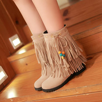 Fashion New 2016 Women Ankle Boots Shoes Wedges with Tassel 7372