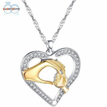 SUSENSTONE 2017 Fashion heart-shaped Finish Mom Baby Hands  Necklace Mothers day Gift
