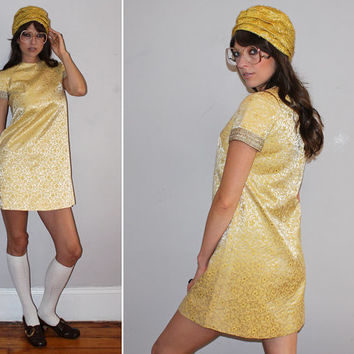Vintage 60s GOLD METALLIC DRESS / Mod Shift Dress, Twiggy / Golden Yellow Satin, Floral Brocade / Glam, Cocktail, Formal Wedding, Black Tie