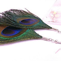 Sterling Silver Authentic Peacock Feather Earrings Natural Bohemian Peacock Earrings Feather Earrings Dangle Earrings Green Feather Earrings