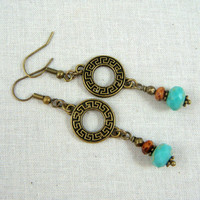 Turquoise Earrings - Turquoise and Brass Dangle Earrings - Antiqued Brass Link with Turquoise Picasso Beads - Casual Everyday Earrings