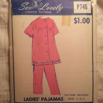 Uncut 1960's Sew Lovely Sewing Pattern, P746! Small/Medium/Large/Women's/Misses/Ladies Pajamas/Lingerie/Button Up Tops/Short Sleeve/Pants