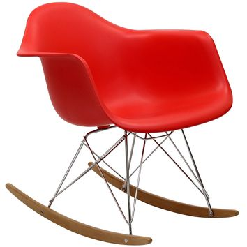 Modern Avant Rock Chair, Red
