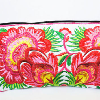 Pink flora Hmong clutch wristlet embroidered purse pull zipper hill tribe tribal women cotton
