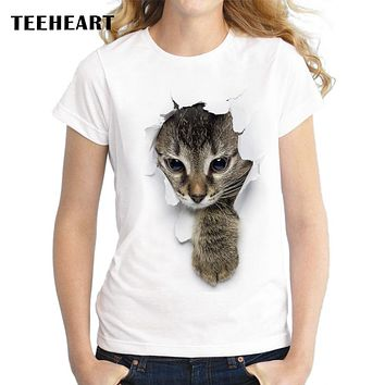 Women's Summer Naughty Gray Cat 3D T-Shirt.    Available in Sizes From Small to 2XL.    Multiple Designs. **See Photos.   ***FREE SHIPPING***