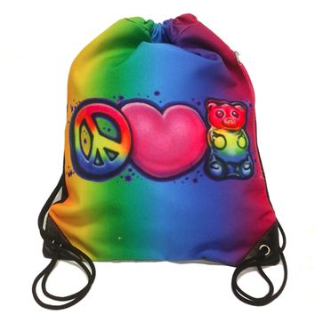 Top Trenz Airbrush Drawstring Sling Bag