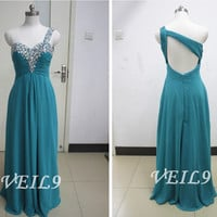 One Shoulder Chiffon bridesmaid Gown green beaded chiffon wedding party Gown bridal graduation prom dress Turquoise beach Prom dress