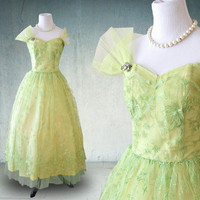 1950s Prom Dress Green Lace and Tulle Ballerina Length Cupcake Dress