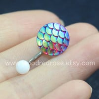 Red and Blue Mermaid Scales belly ring,Dragon Scales belly button ring, Navel Piercing Ring Stud Piercing
