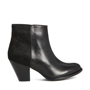 Dune Paz Leather Ankle Boots - Black leather/pony