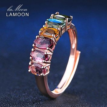 LAMOON Colorful Natural Gemstone Tourmaline Rings 925 Sterling Silver Rose Gold Color Fashion Fine Jewelry For Women
