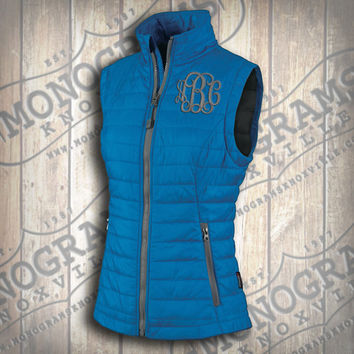 Monogrammed Quilted Cobalt Blue w/ Grey Trim Vest  Font shown INTERLOCKING in grey