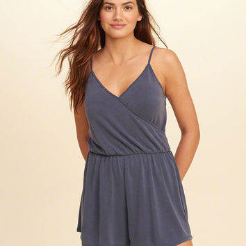 Girls Wrap Front Sueded Knit Romper | Girls New Arrivals | HollisterCo.com