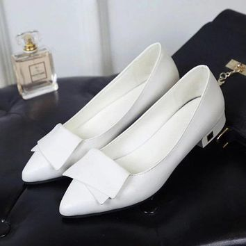 Pure Color Pointed Toe Low Heel Bowknot Shoes For Women