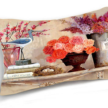 Retro Vintage Red Purple Flower Crane Lumbar Home Decorative Cotton Linen Pillow Case Cushion Cover 20''x12''