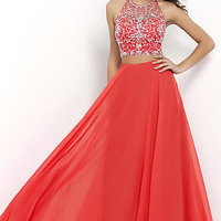 Blush Two Piece Floor Length Prom Dress