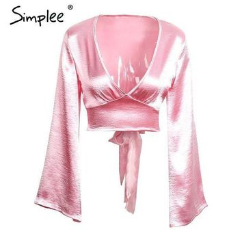 CREYL Simplee Flare sleeve satin blouse shirt Sexy deep v neck evening party red blouse women Glossy club blusas crop top 2016