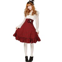 Hugme Red and Black Plaid Polyester Lace High-Waisted Lolita Skirt