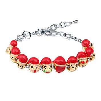 AUGUAU Bracelets for Teen Girls MANBARA Beaded Bracelet Cute Emoji Charm Bracelet for Kids Adjustable Length Heart Enamel Faces Christmas Birthday Jewelry Gifts
