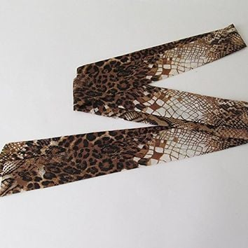 Brown Snake Skin Pattern Skinny Scarf, Long Thin Scarf with Angled Ends, Chiffon Scarf, Neck Tie, Headband, Spring Summer Fashion, For Her