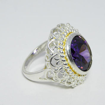 Purple Amethyst & Sterling Ring, Size 7 1/2, Lab Gemstone, Silver Filigree Style Hearts and Scrolls, Marked 925, Vintage 1990s Statement