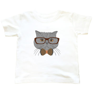Hipster Grey Cat - T Shirt