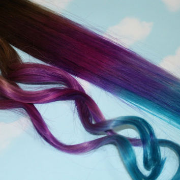 Purple, Blue Tie Dye Tips, Purple & Turquoise, Human Hair Extensions. Colored Hair Extension Clip, Clip in Hair, Dip Dyed Hair Tips