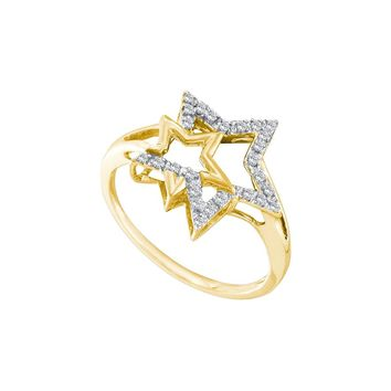 10k Yellow Gold Natural Diamond Womens Slender Double Star Astronomy Right-hand Ring 1/10 Cttw