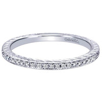"Gabriel ""Veronica"" Classically Thin Diamond Ring Featuring 0.20 Carat Diamonds in 14K White Gold"