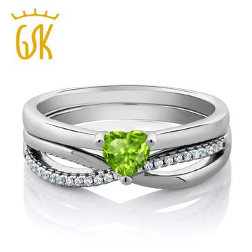 GemStoneKing 925 Sterling Silver 0.80 Cttw Natural Green Peridot Engagement Wedding Ring Set For Women