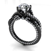 3.50 ct Round Cut Diamond Engagement Ring VVS1 / D 14k Black Gold