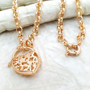 1-1617-g11 Gold Overlay Rolo Link Necklace with Heart Pendant.
