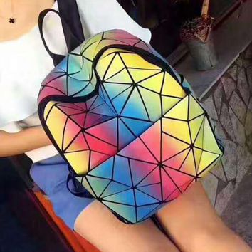 Cona Geometric ling, luminous color rainbow Packet backpack bag H-PSXY