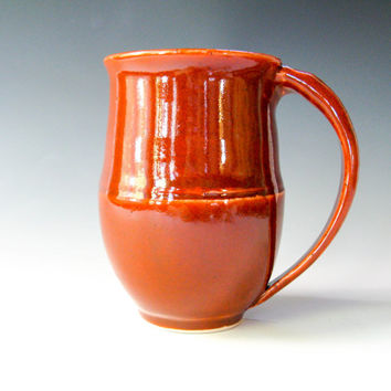Handmade Pottery Coffee Mug, Large Coffee Cup, Orange Mug