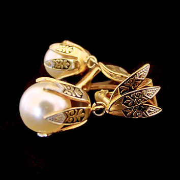 Vintage Damascene Earrings, Faux Pearl Drop Clip-ons