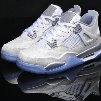 "Nike Air Jordan 4 Retro 30th Anniversary ""Laser"" 705334 105 WHITE CHROME-METALLIC SILVER"