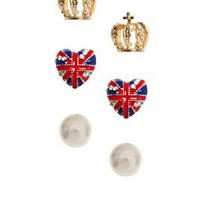 River Island | River Island Pack Of Three Pearl Crown And Union Jack Heart Earrings at ASOS