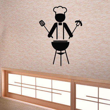 Wall Decals Vinyl Decal Sticker Art Mural Kitchen Decor Chef Cook Barbecue Kj453